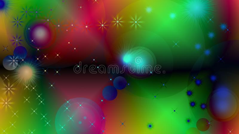 Black abstract light background with glittery colored shiny bokeh stars. Sparkling glittered particles on colored background for placard, banner and greeting vector illustration