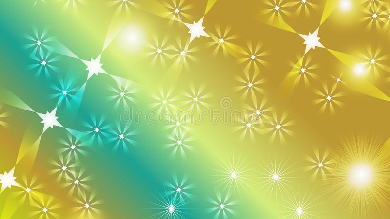 Black abstract light background with glittery colored shiny bokeh stars. Sparkling glittered particles on colored background for placard, banner and greeting stock illustration