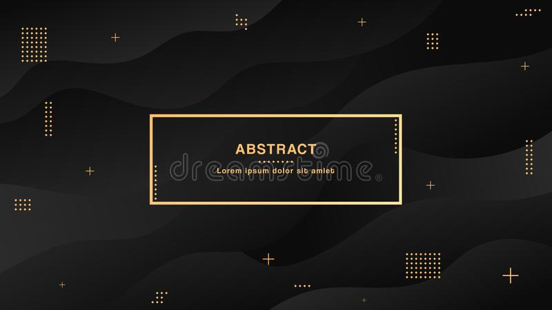 Black abstract liquid background with simple shapes with trendy gradients composition royalty free illustration