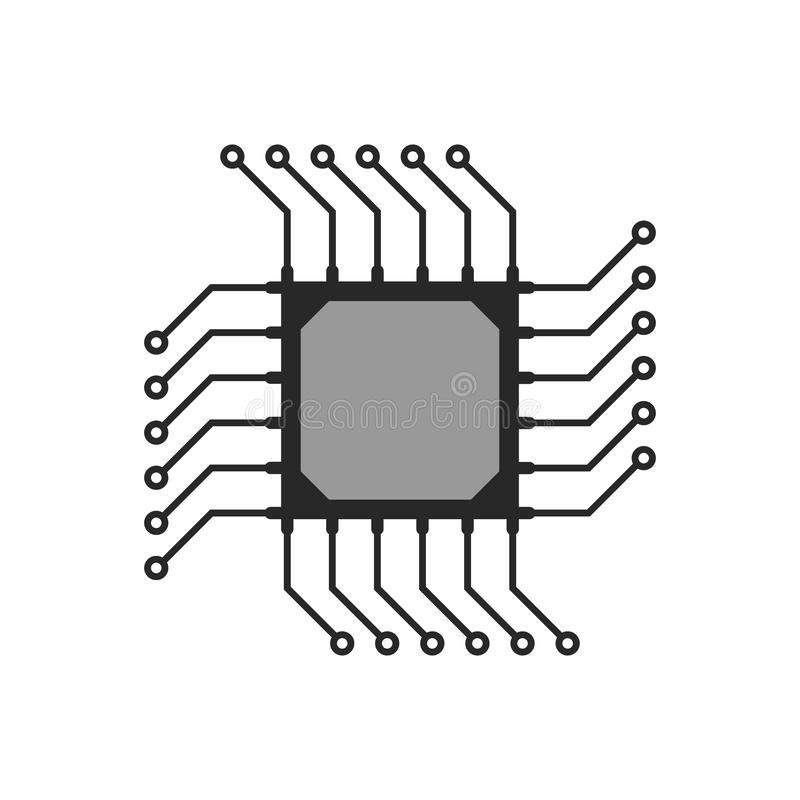 black abstract microchip circuit icon stock vector