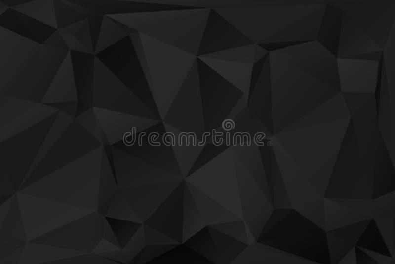 Black abstract polygonal background stock illustration