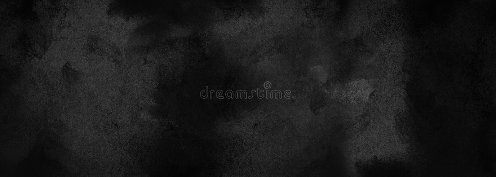 Black abstract shabby textured background texture of old paper. Blank background design banner effect scratches. Layout for design stock photo