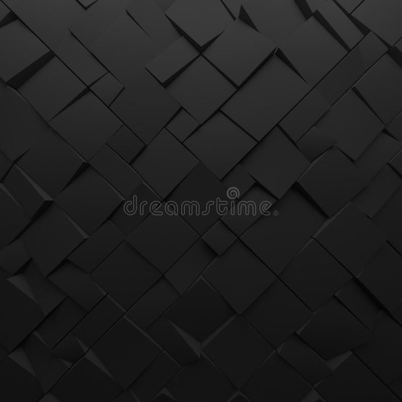Black abstract squares backdrop. Geometric polygons, as tile wall. Interior room stock photos