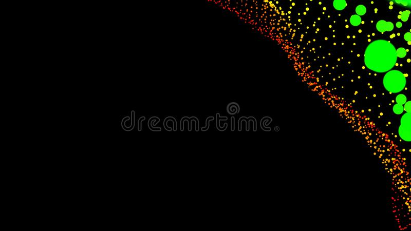 Black abstract texture background with glittery colored shiny bokeh spheres. Sparkling glittered particles on black background for placard, banner and greeting royalty free illustration