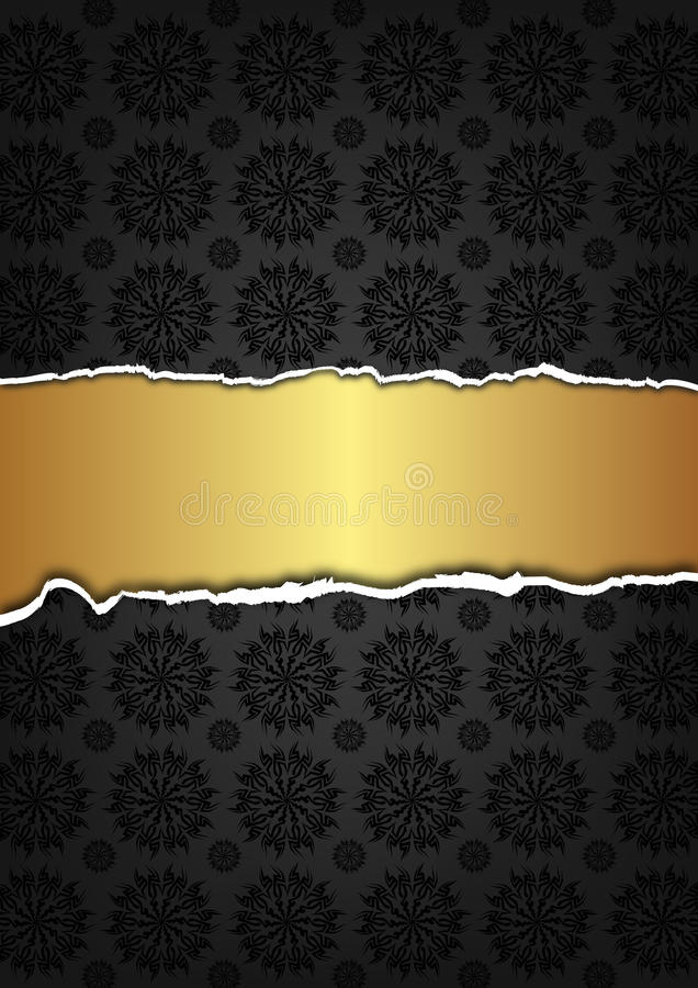 Black abstract texture and golden ribbon vector illustration