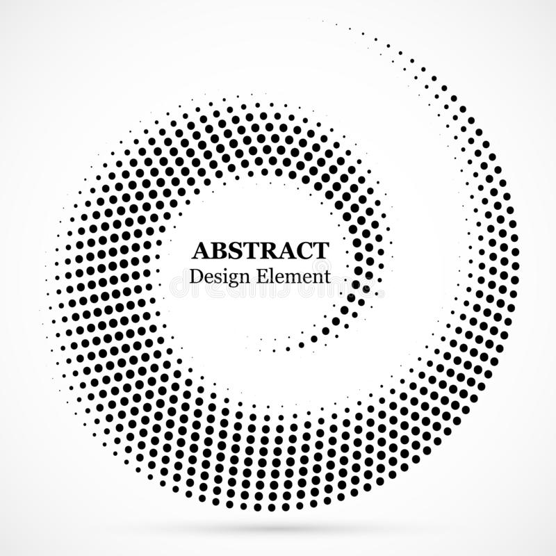Black abstract vector circle frame halftone dots design element.Halftone effect vector pattern for your design. Circle dots stock illustration
