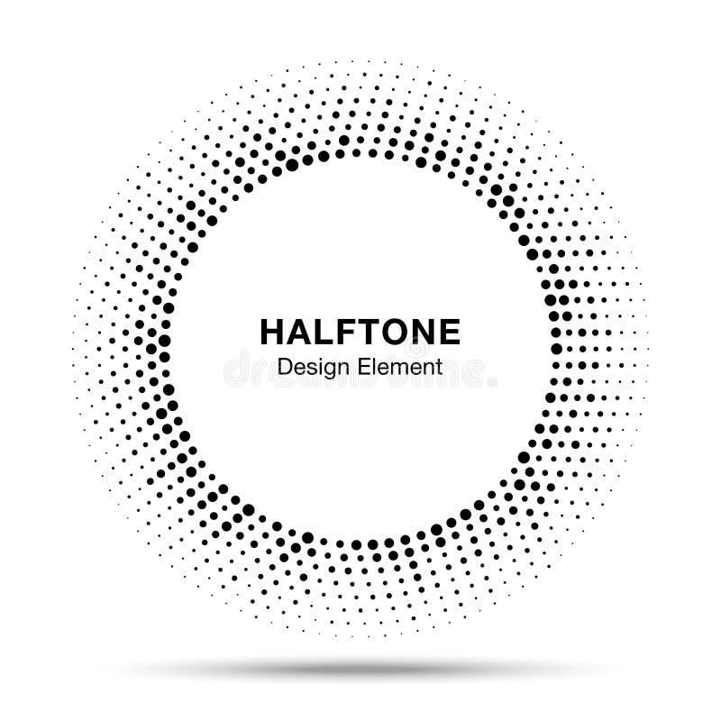 Black Abstract Vector Circle Frame Halftone Random Dots Logo Emblem ...