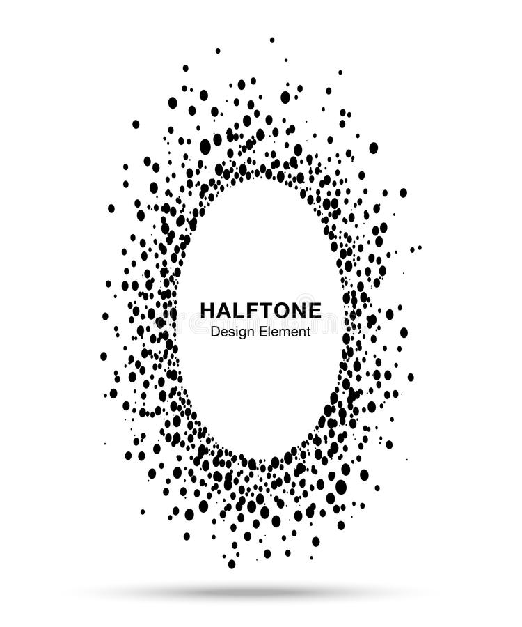 Black abstract vector oval circle frame halftone dots logo emblem design element for medical, treatment, cosmetic. Ellipse border Icon using halftone circle royalty free illustration
