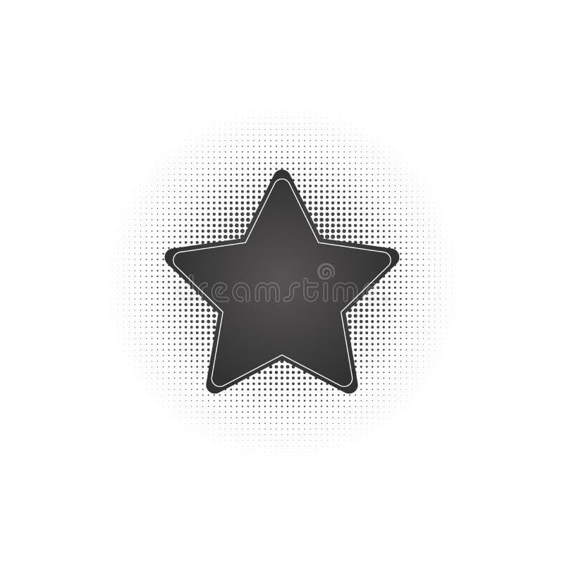 Black abstract vector star frame halftone dots logo emblem design element with . Round border Icon using halftone circle dots. Black abstract vector star frame stock illustration