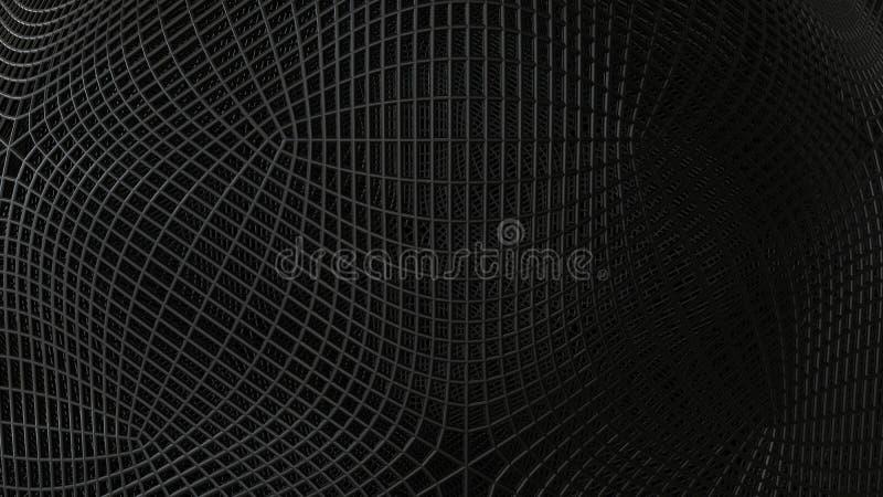Black abstract wireframe futuristic background, 3d render. Illustration stock illustration