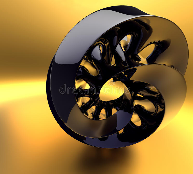 Black abstraction on the gold background royalty free illustration