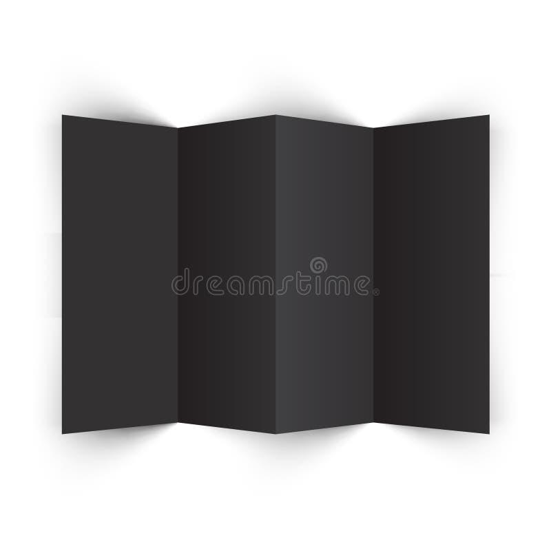 Black Accordion Brochure Mockup. 4 Fold Black Accordion Brochure Mockup royalty free illustration