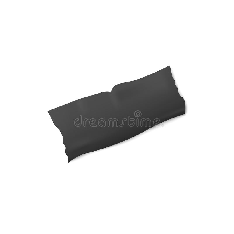 Black adhesive or insulation tape torn strip 3d vector illustration isolated. royalty free illustration