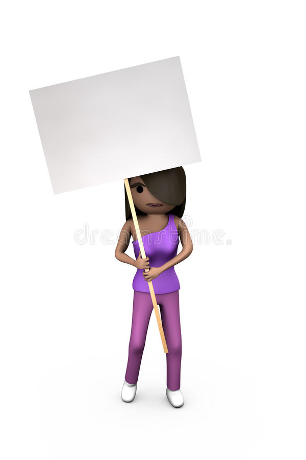 Black or African-American 3D Girl Holding Protest. Black Modern 3D Woman Holding Protest Placard Shaded Copyspace vector illustration
