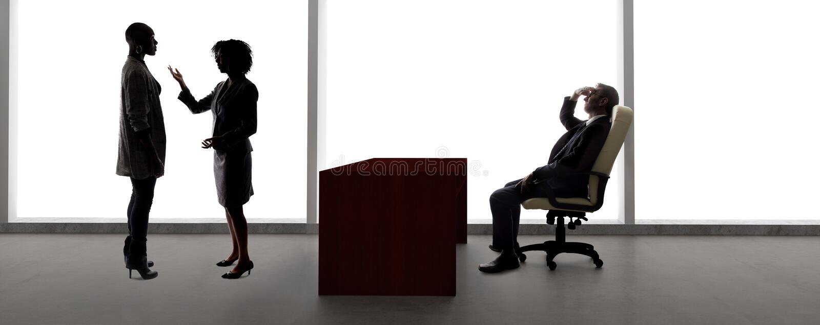 Silhouettes of Female Actors in an Audition with a Casting Director stock images