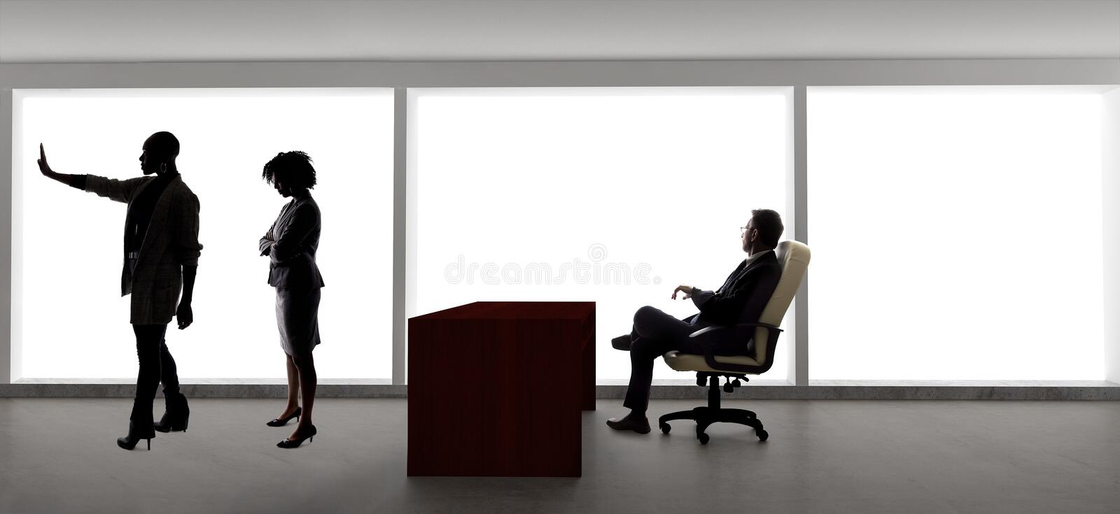 Silhouettes of Female Actors in an Audition with a Casting Director royalty free stock photos