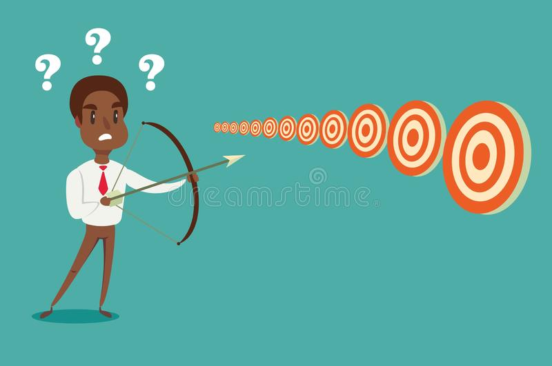 Black african american businessman with bow and arrow look at multiple targets. Cannot decide which target to shoot at. Stock flat vector illustration royalty free illustration