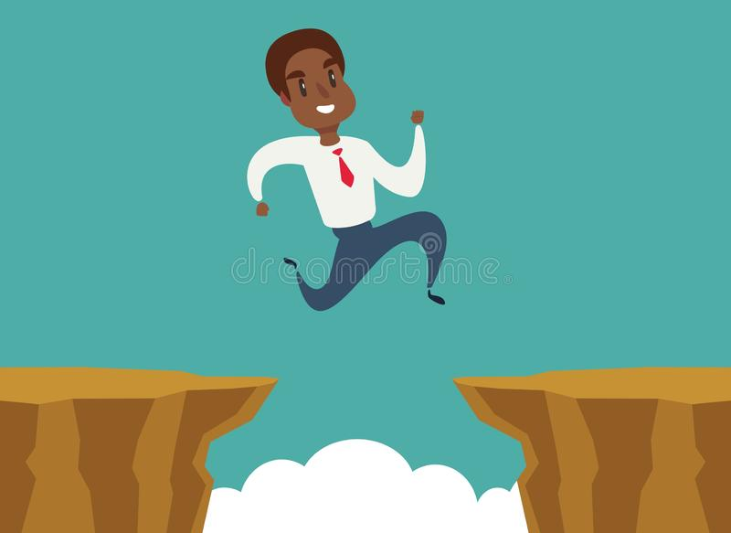 Black african american businessman jump over cliff gap, overcome the difficulty. Business concept. Vector vector illustration