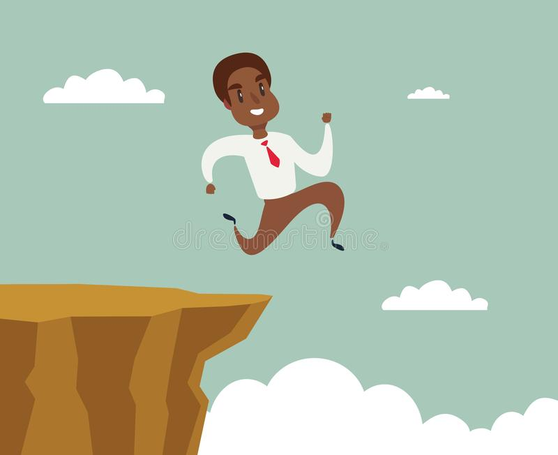 Black african american businessman running and jump over cliff gap to success, overcome the difficulty, Business concept. Cartoon vector illustration stock illustration