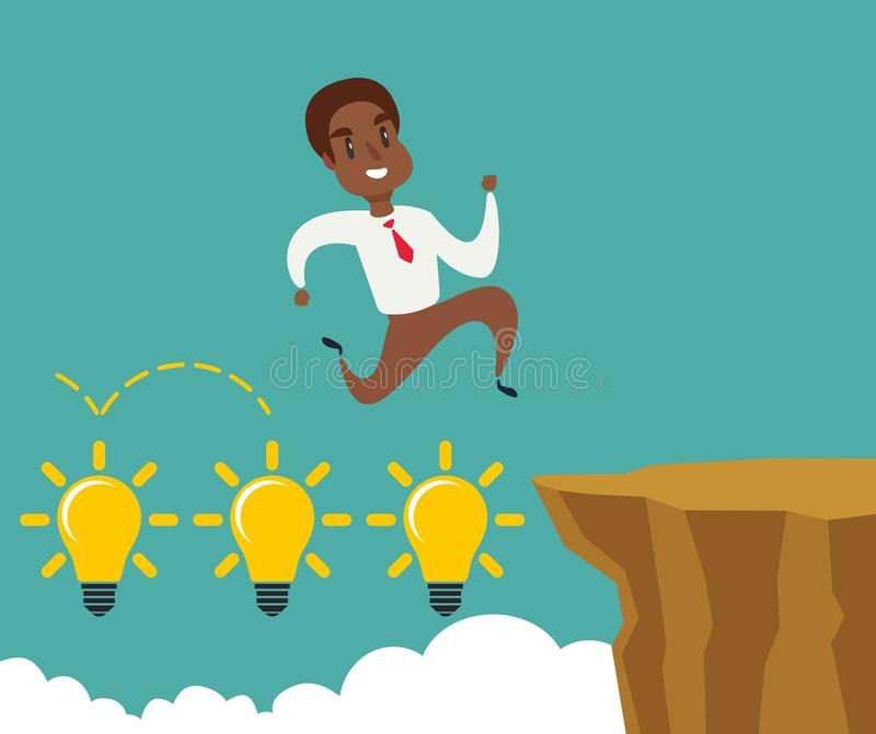 Black african american businessman running and jump over cliff gap to success, overcome the difficulty, Business concept. Black african american businessman stock illustration