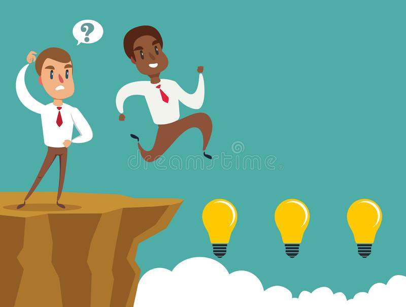 Black african american businessman running and jump over cliff gap to success, overcome the difficulty, Business concept. Black african american businessman vector illustration