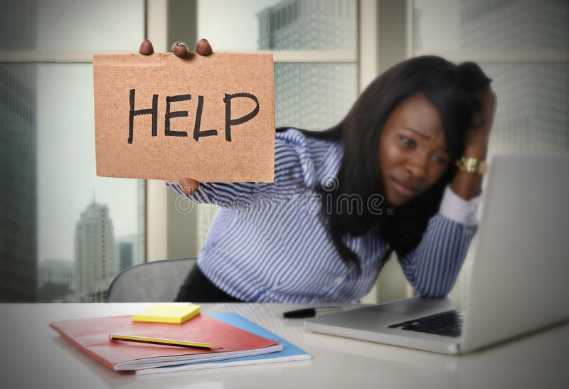 Black African American ethnicity tired frustrated woman working in stress asking for help. Black African American ethnicity tired and frustrated woman working as