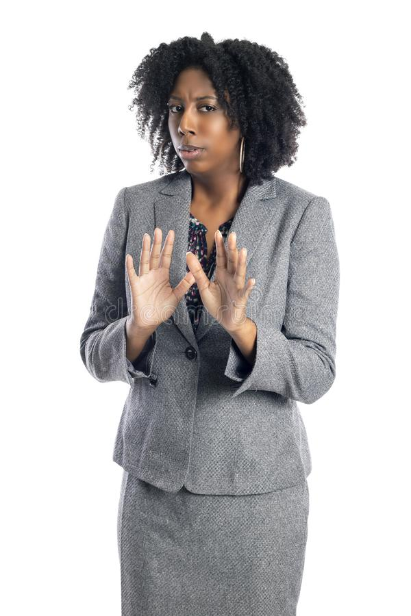 Black African American Female Business Woman Looking Scared royalty free stock photography