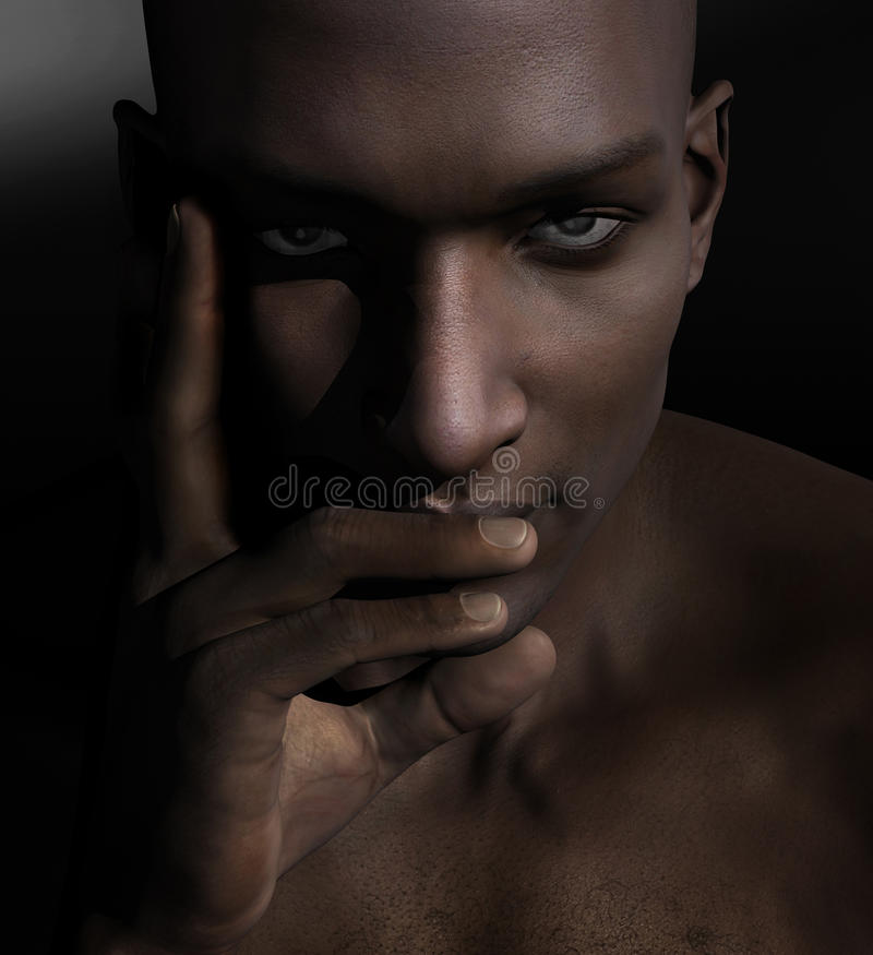 Handsome black man. Handsome serious black man portrait. Young male staring at camera closeup stock illustration
