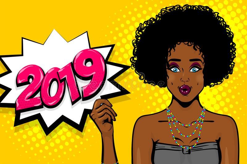Black african-american young girl pop art vector illustration