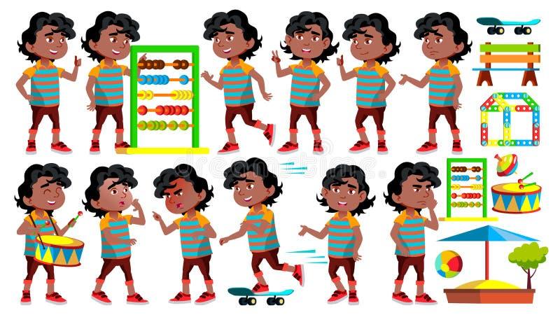 Black, Afro American Boy Kindergarten Kid Poses Set Vector. Happy Children Character. Babysitting. For Advertisement. Greeting, Announcement Design. Cartoon stock illustration