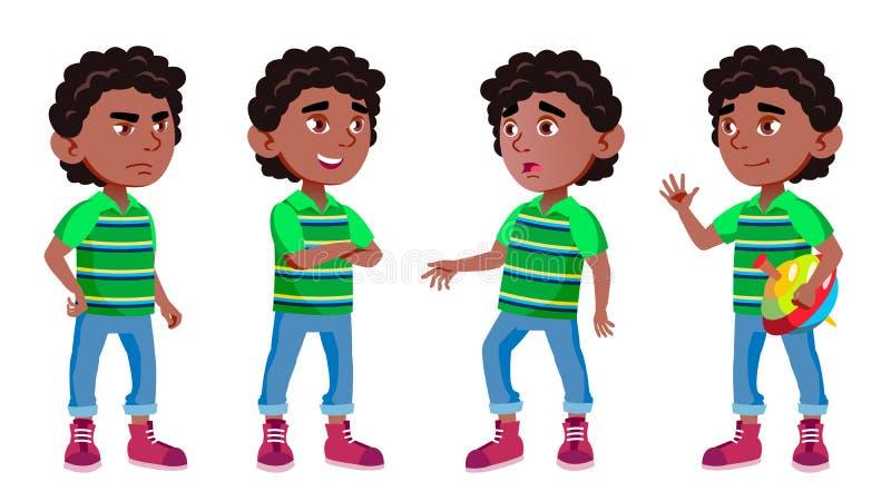 Black, Afro American Boy Kindergarten Kid Poses Set Vector. Preschool, Childhood. Friend. For Cover, Placard Design. Isolated Illustration vector illustration