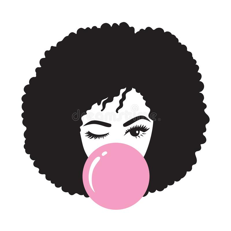 Free Black Afro Woman Blowing Bubble Gum Stock Photo - 177172390