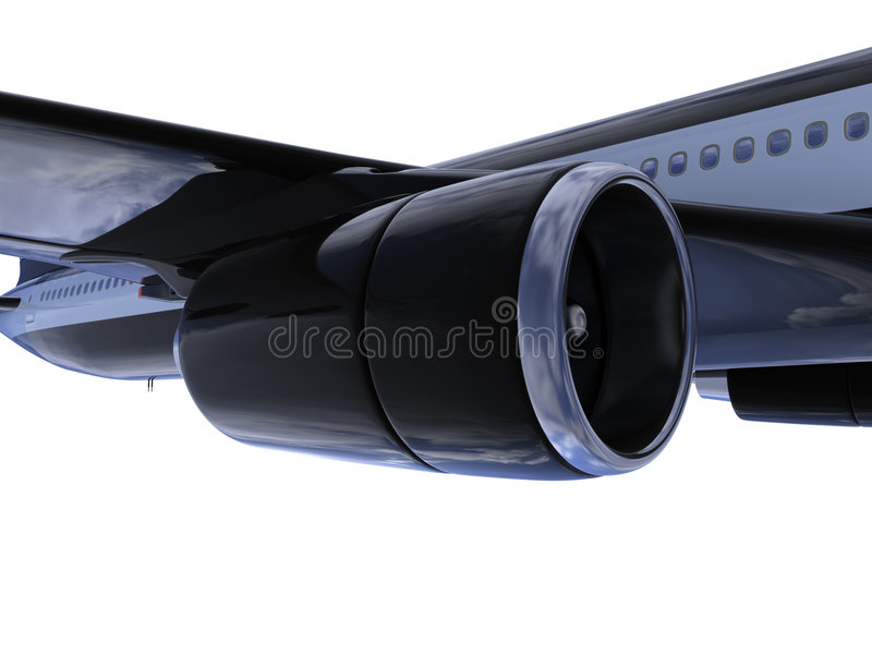 Black aircraft isolated view stock illustration