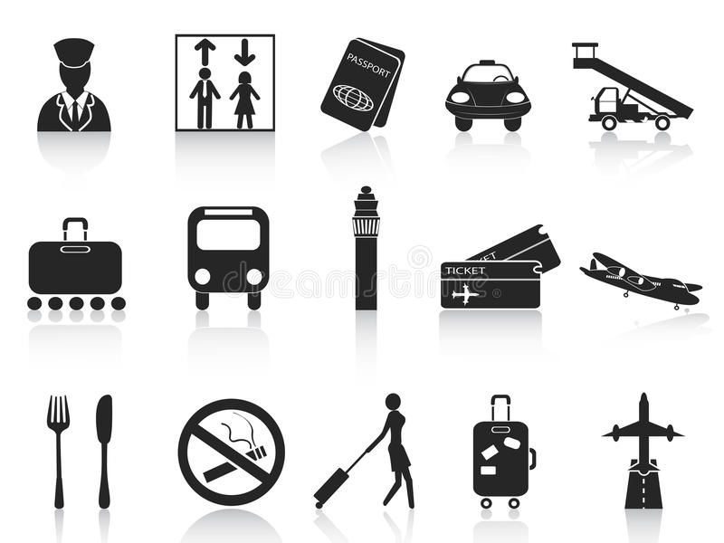 Black Airport Icons Set Stock Photos