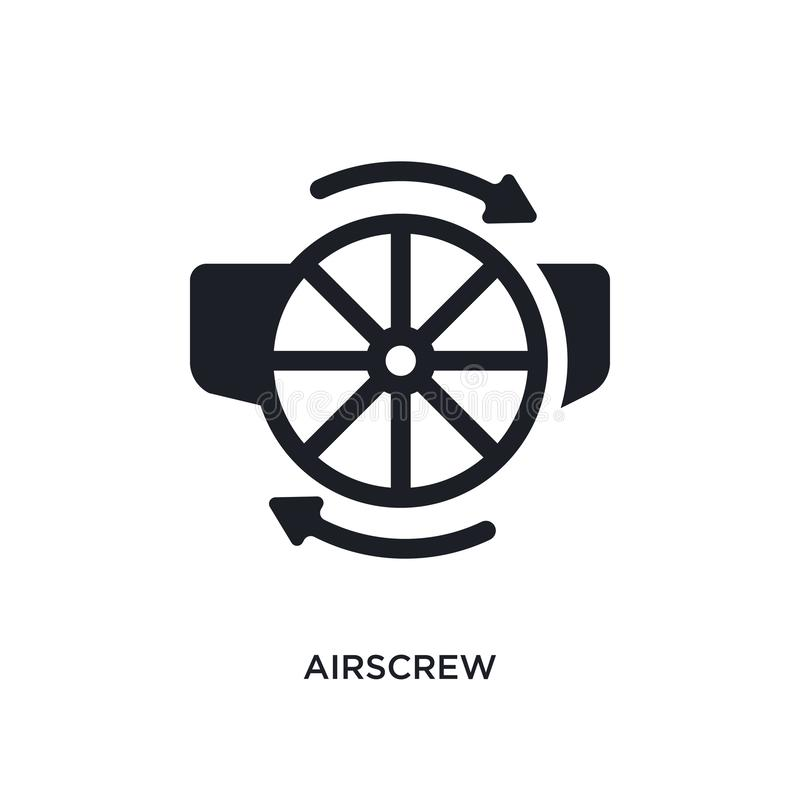 Black airscrew isolated vector icon. simple element illustration from astronomy concept vector icons. airscrew editable black logo. Symbol design on white vector illustration