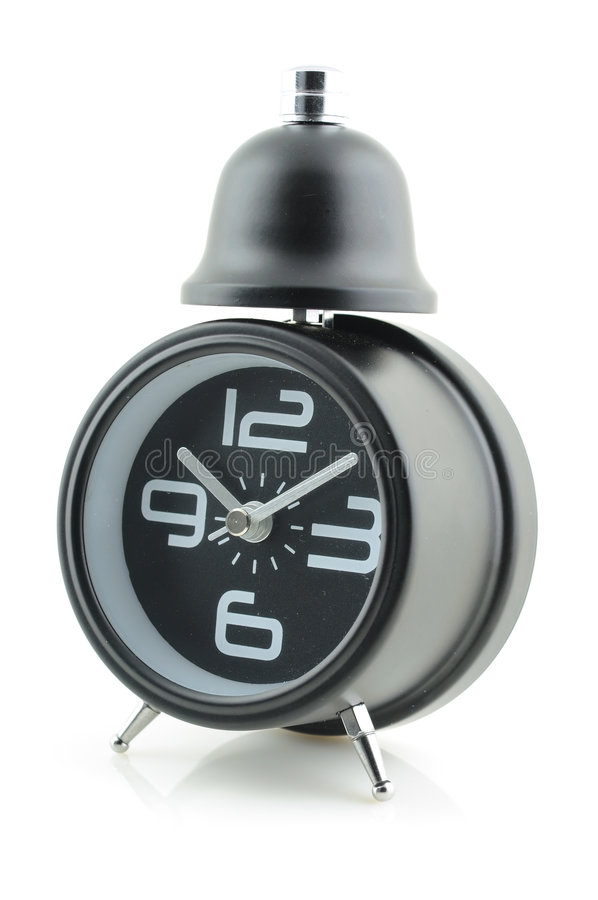 Download Black alarm clock stock photo. Image of hour, black, background - 9315982
