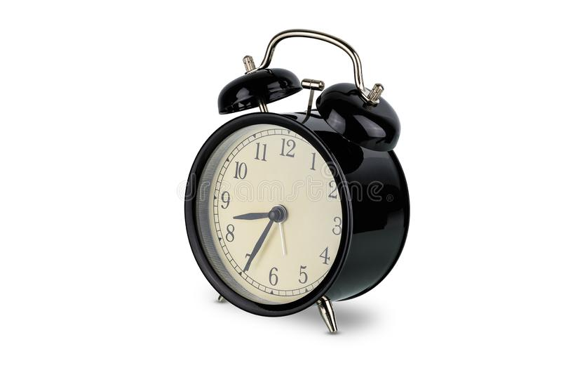 Black alarm clock, Analog twin bell isolated on  white royalty free stock photos