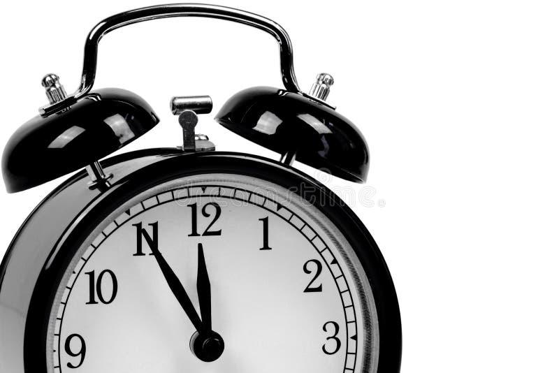 Black alarm clock - It is high time!. Black alarm clock symbolizing ' It is high time royalty free stock photography