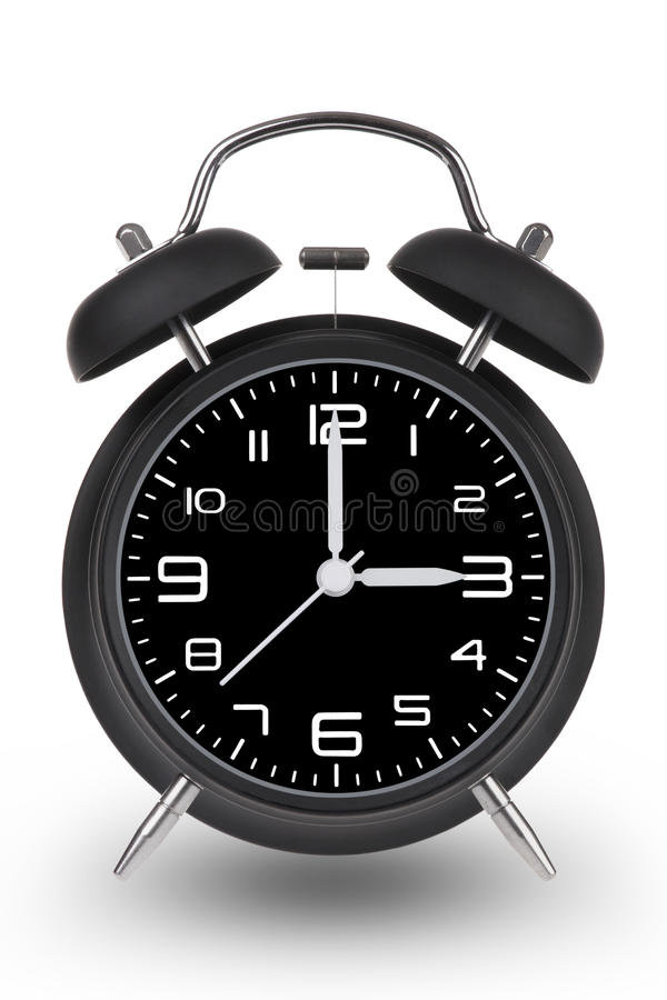 Free Black Alarm Clock With Hands At 3 Am Or Pm On White Bac Royalty Free Stock Image - 67251306
