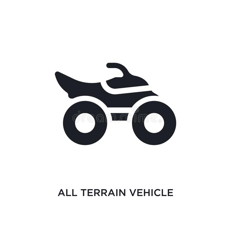 black all terrain vehicle isolated vector icon. simple element illustration from transport-aytan concept vector icons. all terrain vector illustration