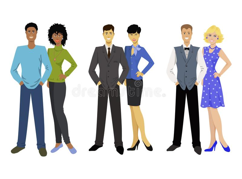 Black American, asian and european couple, mans and womans. vector illustration