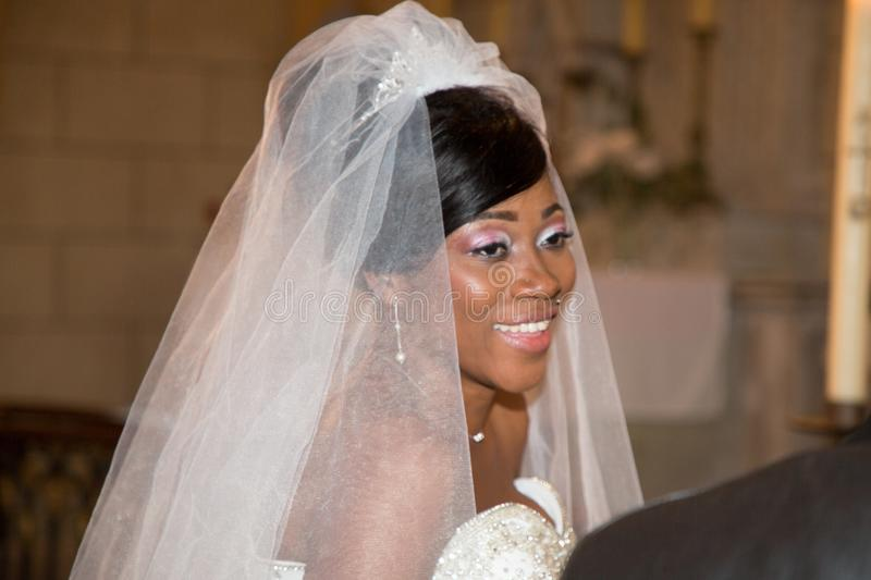 Black american bride in marriage church royalty free stock photography