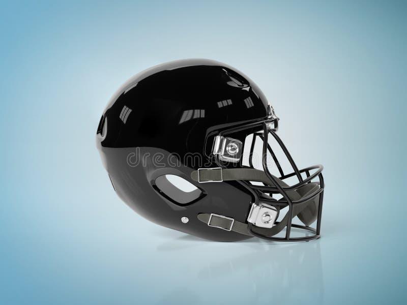 Black American football helmet isolated on blue mockup 3D rendering. Black American football helmet isolated on blue background mockup 3D rendering royalty free illustration