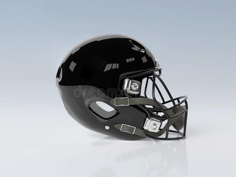 Black American football helmet isolated on grey mockup 3D rendering. Black American football helmet isolated on grey background mockup 3D rendering stock illustration