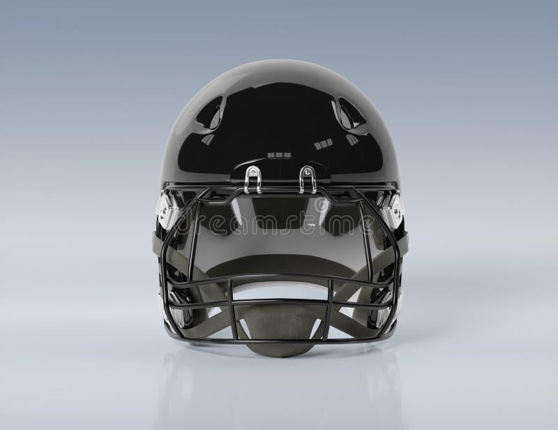 Black American football helmet isolated on grey mockup 3D rendering. Black American football helmet isolated on grey background mockup 3D rendering vector illustration