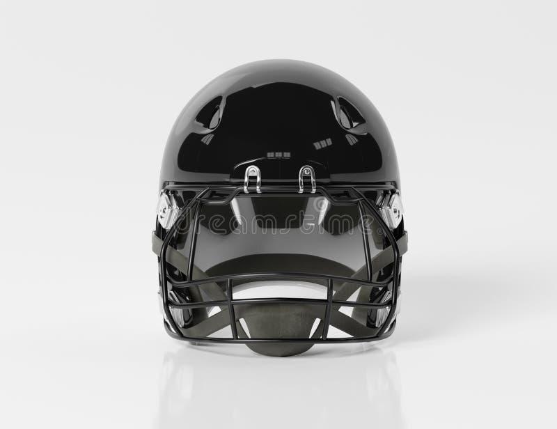 Black American football helmet isolated on white mockup 3D rendering. Black American football helmet isolated on white background mockup 3D rendering stock illustration