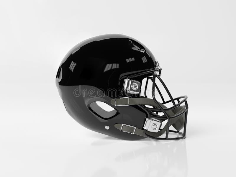 Black American football helmet isolated on white mockup 3D rendering. Black American football helmet isolated on white background mockup 3D rendering royalty free illustration