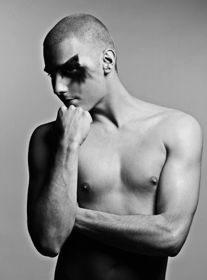 Black&white masculino novo do ator fotos de stock