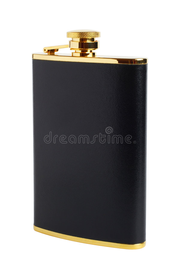 Free Black And Gilt Hipflask For Alcoholic Drink Royalty Free Stock Image - 7905956