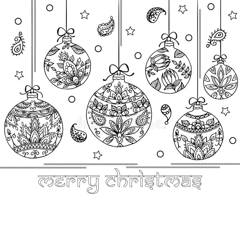 Free Black And White Background With Christmas Balls. Paisley Indian Royalty Free Stock Photos - 89370008